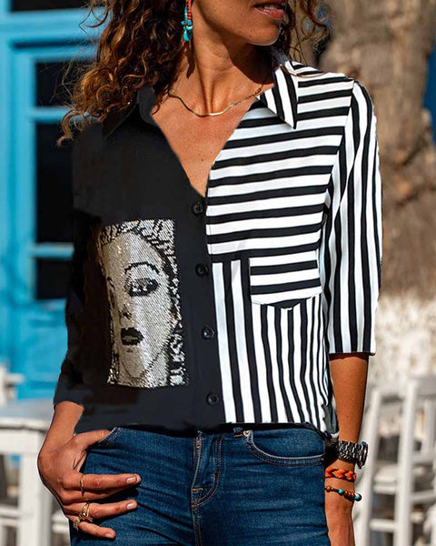 Striped Graphic Long Sleeve Button-up Blouse
