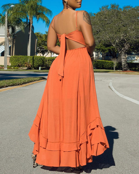 Spaghetti Strap Lace Trim Maxi Dress