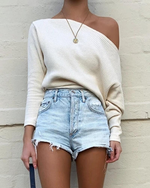Solid Color Long Sleeve Knitted Blouse