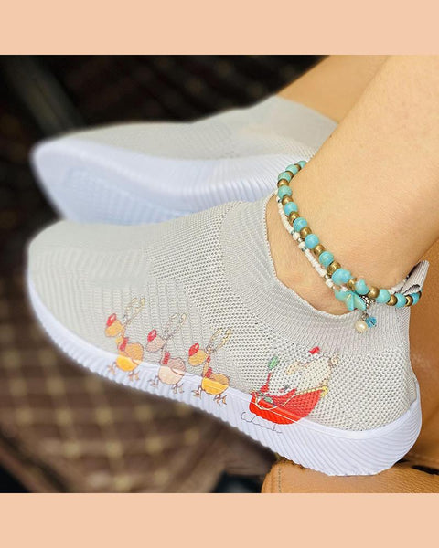 Christmas Printing Round-toe Breathable Sneakers