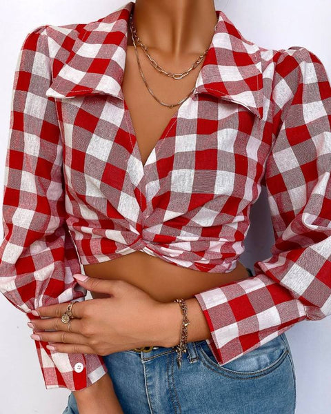 Plaid Print Colorblock Twisted Knotted Back Crop Shirt