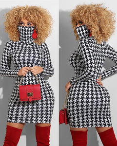Houndstooth Print Long Sleeve Bodycon Dress With Face Mask