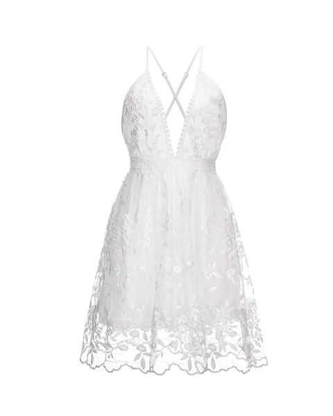 Floral Pattern Lace Plunge Mini Dress