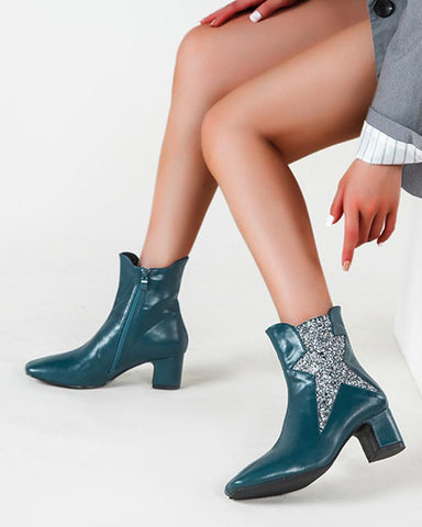 Star Pattern Square-toe Martin Boots