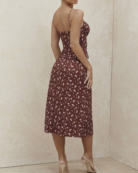 Floral Strappy Slit Hem Dress