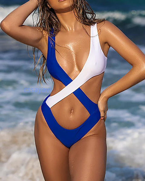Colorblock Crisscross One-Piece Swimsuit