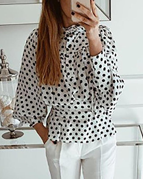 Dot Lantern Sleeve Tight Waist Ruched Blouse