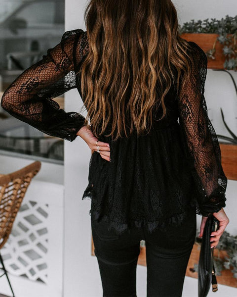 Sexy Stylish Lace Solid Blouse