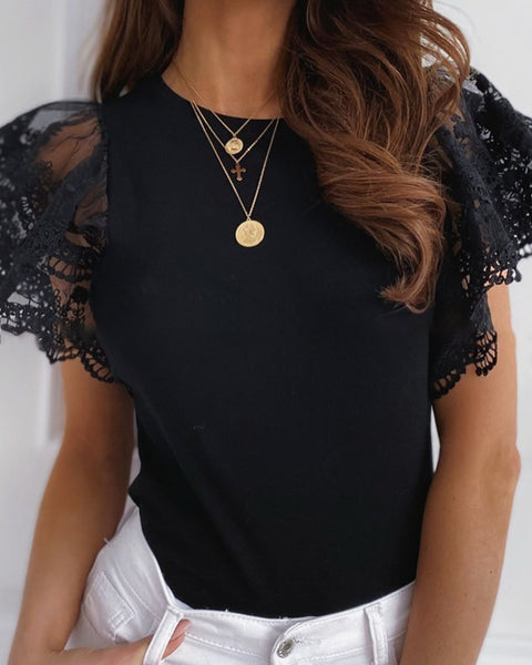 Lace Flutter Sleeve Casual Blouse