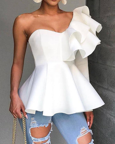 One Shoulder Zipper Up Peplum Ruffled Tops