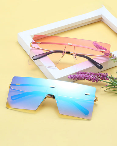 Square Flexible Metal Frame Sunglasses