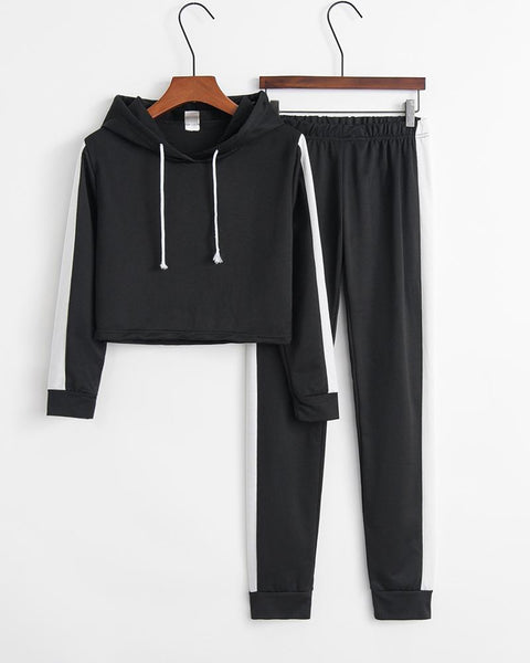 Colorblock Hooded Hoodies Pants Sports Set