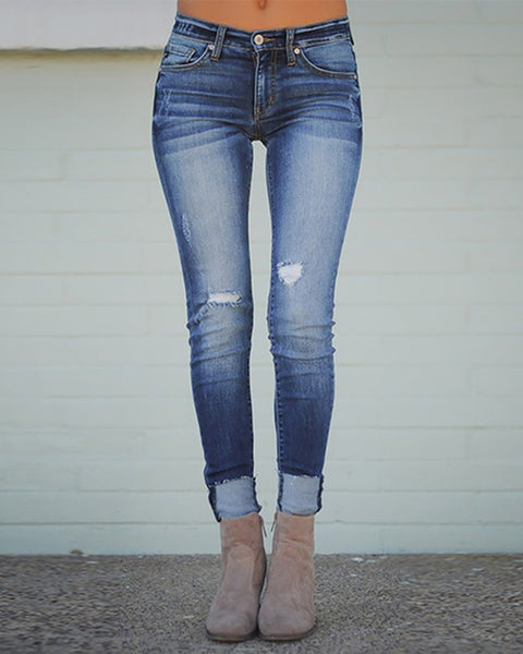 Ripped Denim Casual Pants
