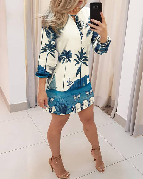 Tropical Print Tie Front Long Sleeve Dress