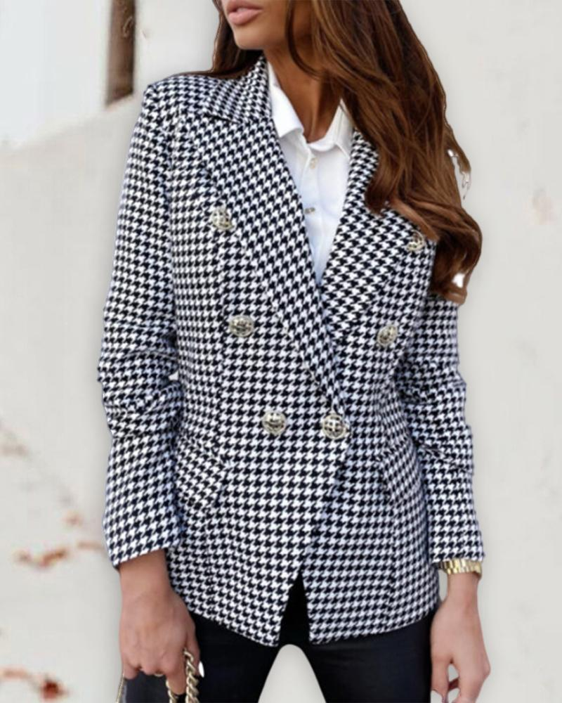 Double Breasted Pockets Design Plaid Blazer Coat