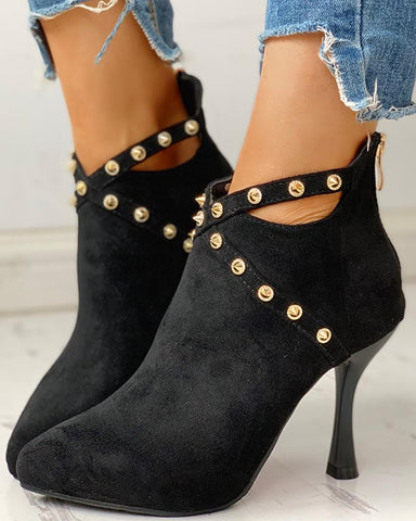 Rivet Embellished Thin Heeled Ankle-Boots
