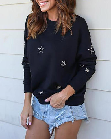 Fashionable Little Stars Embroidery Casual Blouse