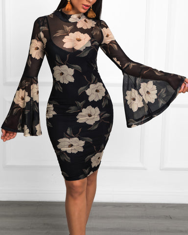 Floral Print Bell Sleeve Bodycon Dress