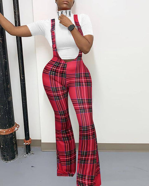 Christmas Plaid Printing Flared Jumpsuit