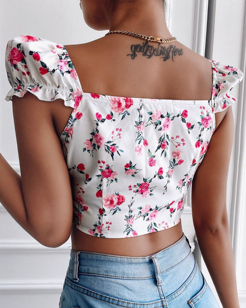 Floral Print Zip Front Puff Sleeve Top