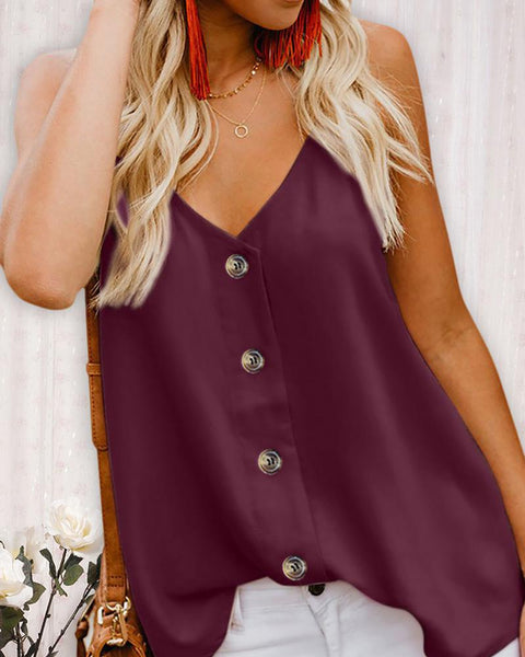 Spaghetti Strap Button Design Top