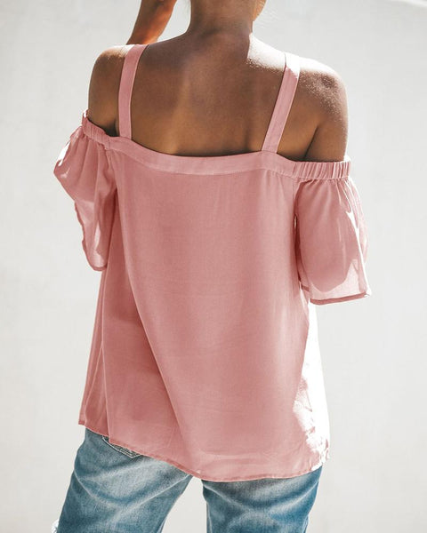 Cold Shoulder Cutout Front Bell Sleeve T-shirt