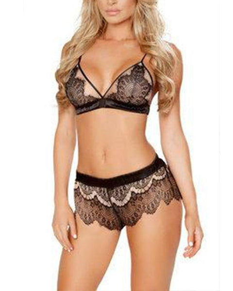 Solid Lace Bra With Lace Panties Sexy Sets