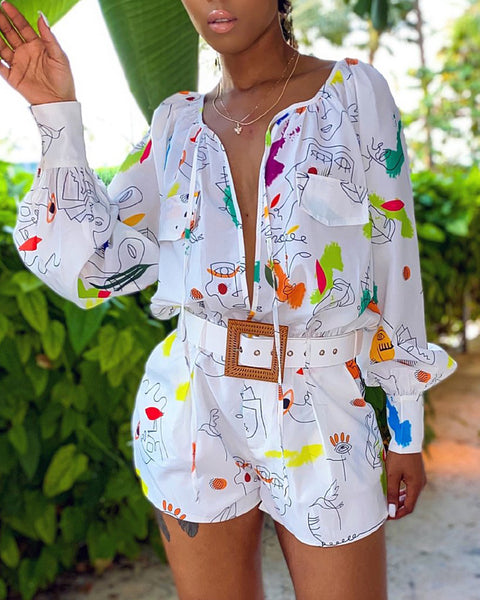 Mixed Print Lantern Sleeve Tie Front Romper