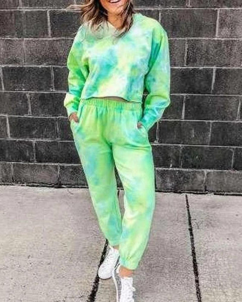 Tie Dye Long Sleeve Pajams Sets