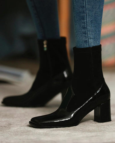 Solid Patent Square Toe Leather Splicing Ankle Boots