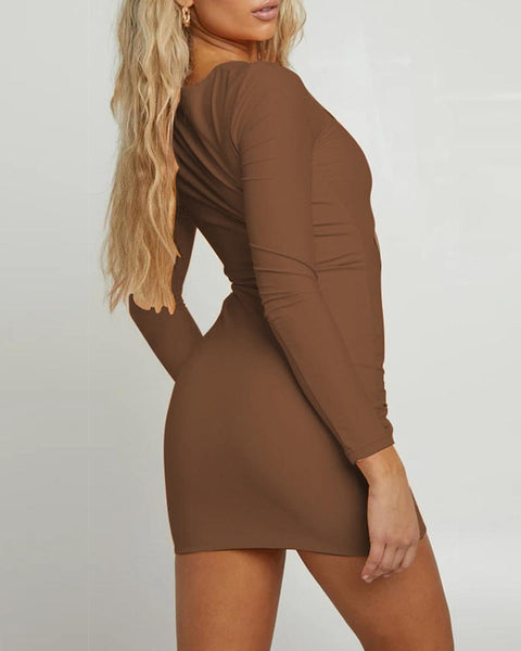 Ruched Cutout Front Long Sleeve Bodycon Dress