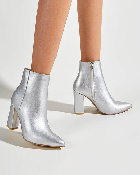 Solid Laser Pointed-toe Block Heel Boots