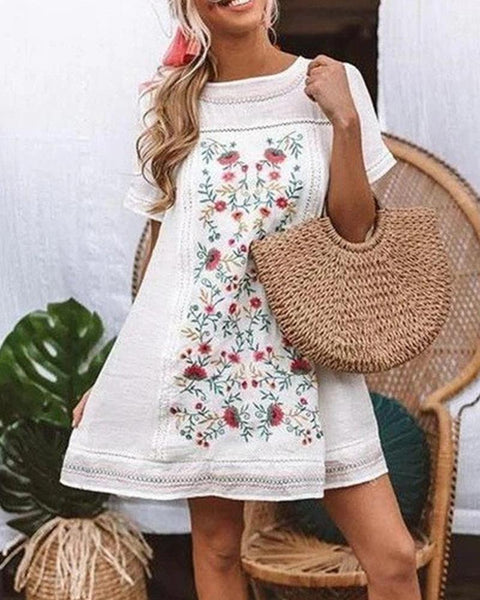 Floral Print Round Neck Mini Dress