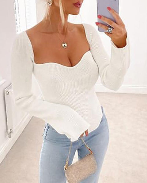 Solid Bell Sleeve Slit Knit Sweater