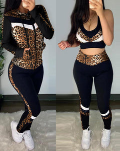 Cheetah Print Crop Top & High Waist Pants & Hooded Coat Set