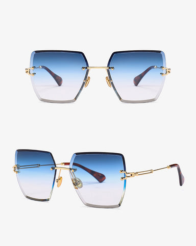 Colorblock Flexible Metal Frame Sunglasses