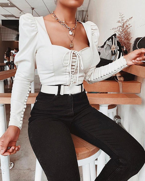 White Long Sleeve Bustier Top