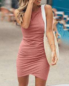 Ruched Sleeveless Surplice Wrap Bodycon Dress