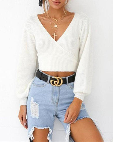 White V Neck Long Sleeve Back Knot Sweater