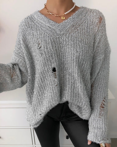 Plain Hollow-out Long Sleeve Sweater