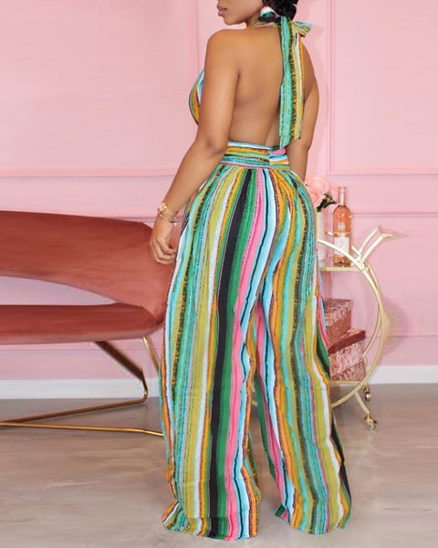 Multicolor Striped Sleeveless Loose Wide Leg Jumpsuit