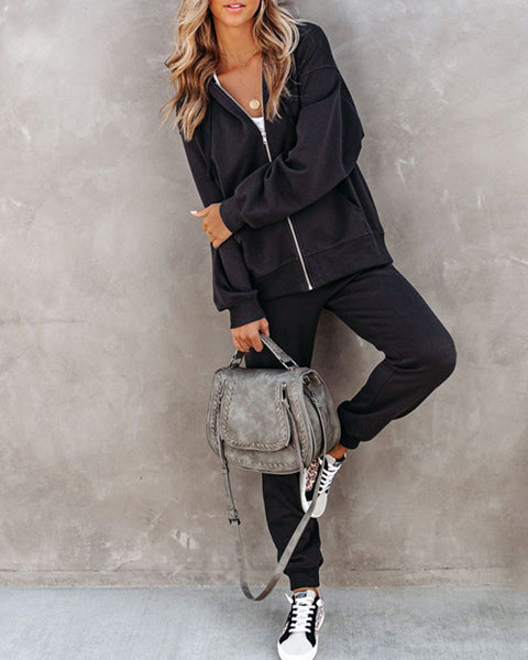 Solid Color Long Sleeve Hooded Coat And Sweatpants Suit Sets