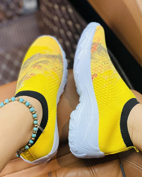 National Style Printing Round-toe Breathable Sneakers
