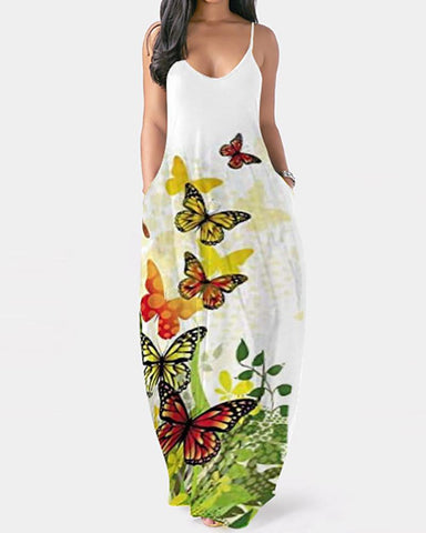 Butterfly Print Colorblock Pocket Design Maxi Dress