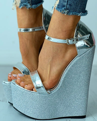 Sequins Buckled Open Toe Wedge Sandals