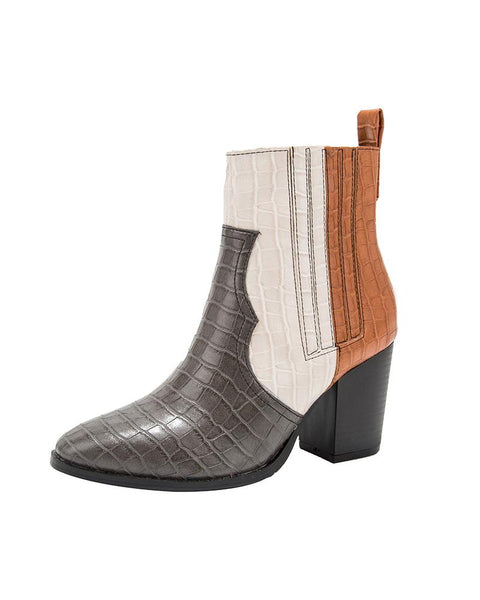 Color Block Snakeskin Chelsea Boots