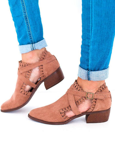 Solid Cutout Heeled Ankle Bootie