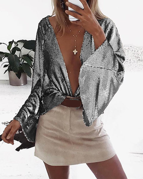 Sexy Flare Sleeve Satin Top