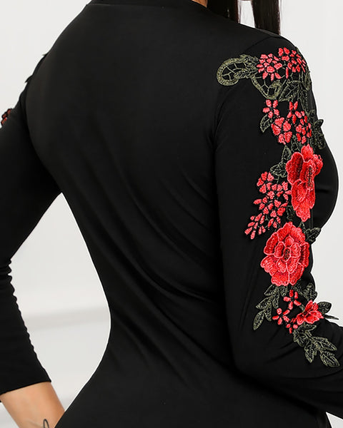 Floral Embroidery Long Sleeve Dress