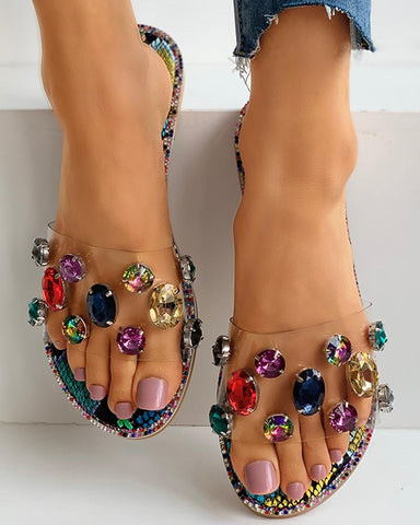 Studded Snakeskin Open Toe Flat Sandals